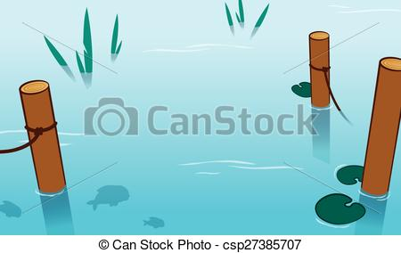 Vector Clipart of Background of water in a pond with mooring poles.