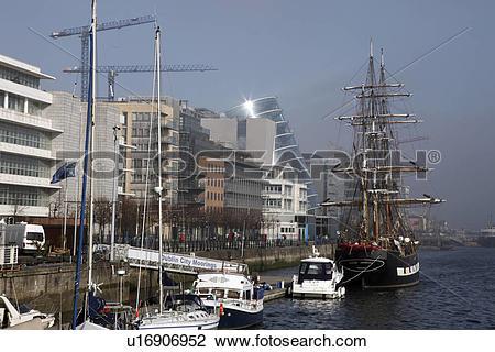 Stock Photo of Republic of Ireland, Dublin, Dublin, Boats and a.