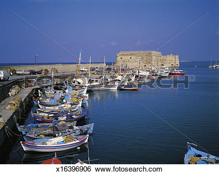 Stock Images of Greece, Crete, Heraklion harbour, fishing boats.