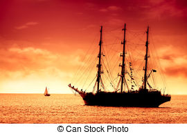 Clip Art of Tall Ship on the Moorings at Sunset.