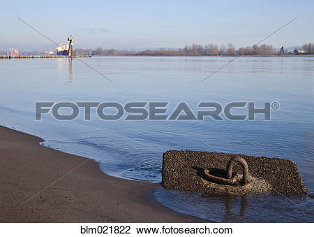 Stock Photo of Moorings Along the Columbia River, Pacific.