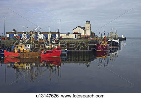 Stock Images of Scotland, Ayrshire, Ayr, Boats on moorings in.