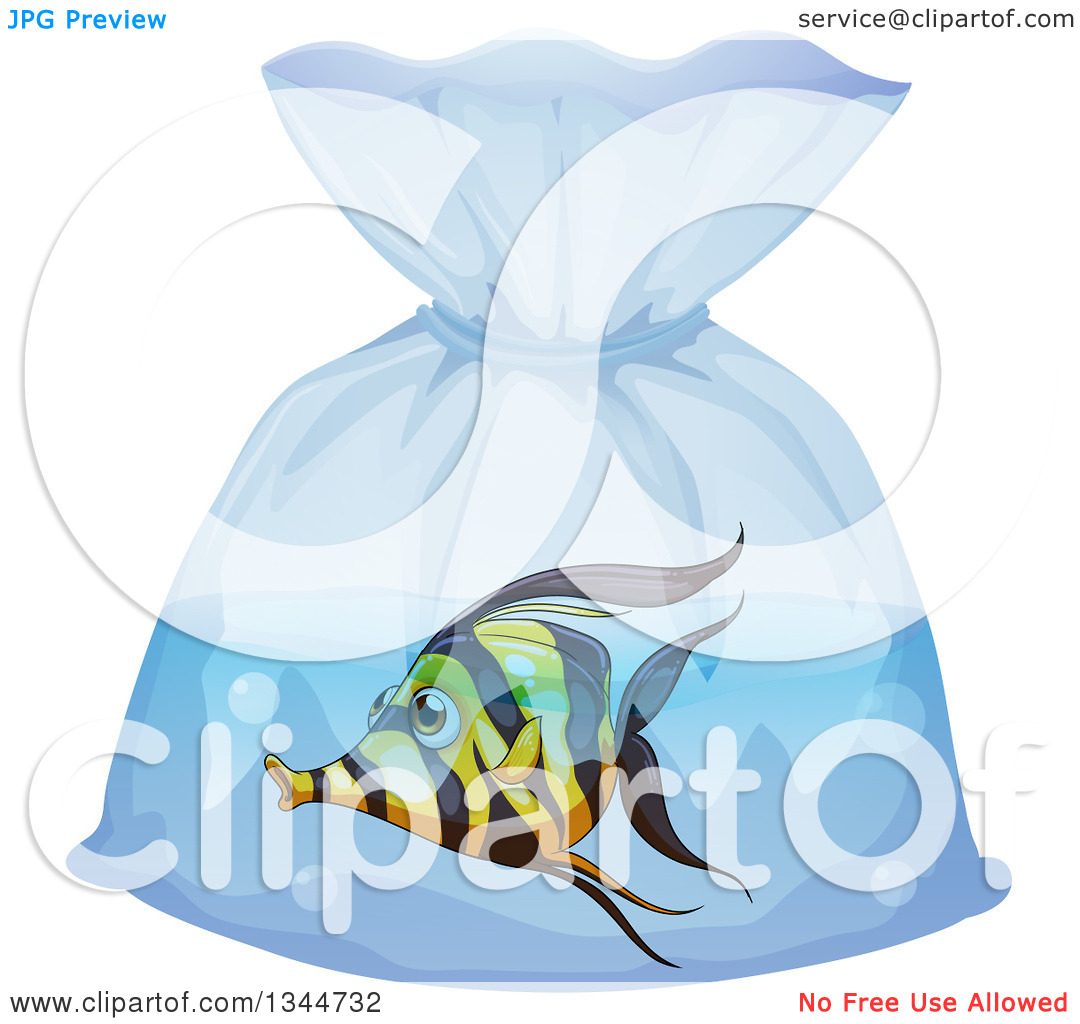 Clipart of a Moorish Idol Fish in a Bag.