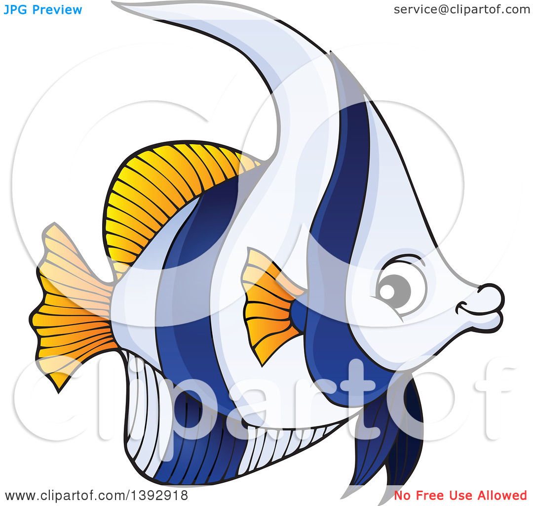 Clipart of a False Moorish Idol Marine Fish.