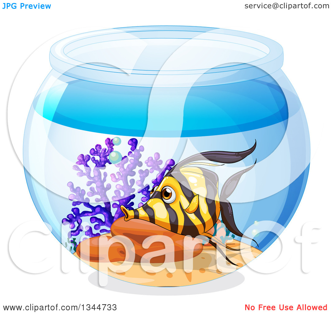 Clipart of a Moorish Idol Fish in a Bowl.
