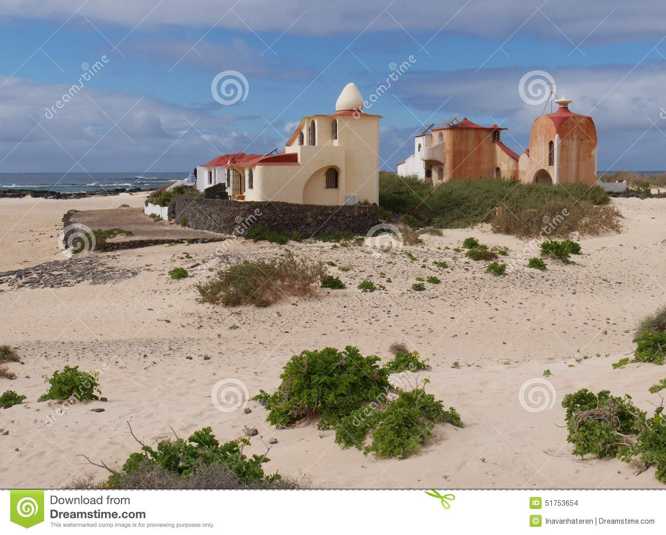 Colourful Moorish Style Houses On Fuerteventura Stock Photo.