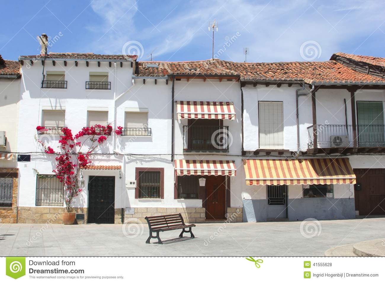Scenic Spanish Village In Moorish Style, Spain Stock Photo.