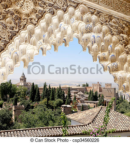 Stock Photo of Arches in Islamic (Moorish) style and Alhambra.