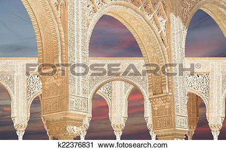 Stock Photography of Arches in Islamic (Moorish) style in Alhambra.