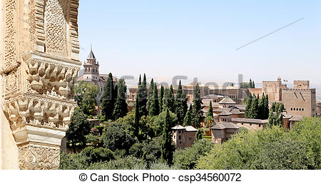 Picture of Arches in Islamic Moorish style and Alhambra, Granada.