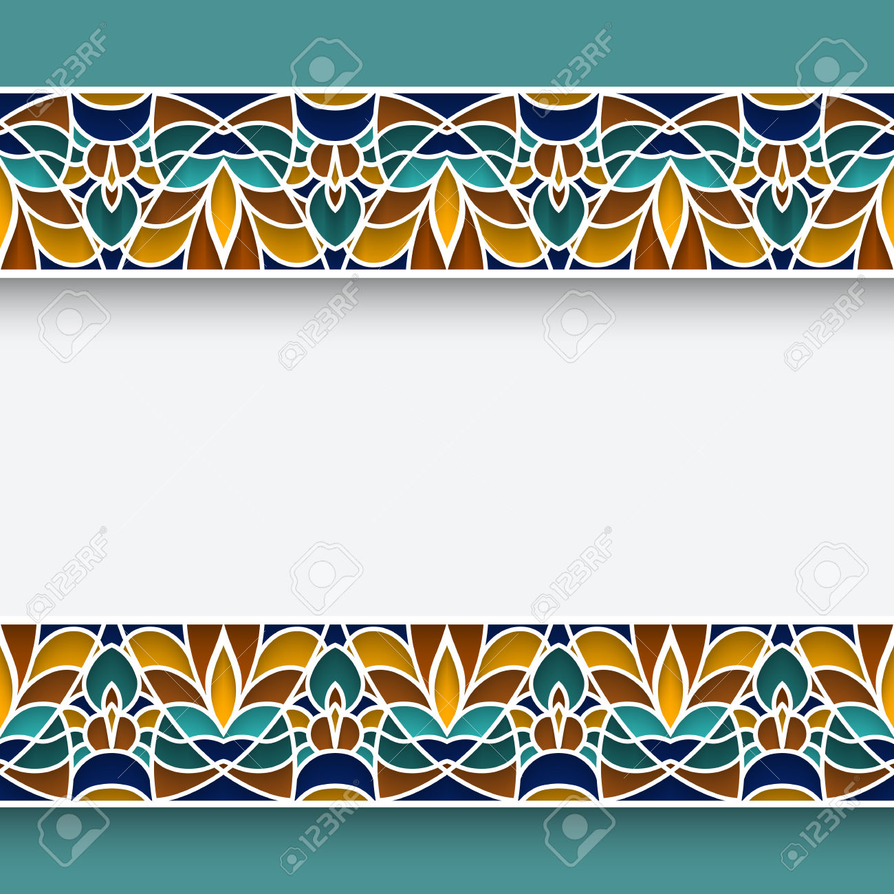 Mosaic Frame With Ornamental Majolica Border Lines In Moorish.