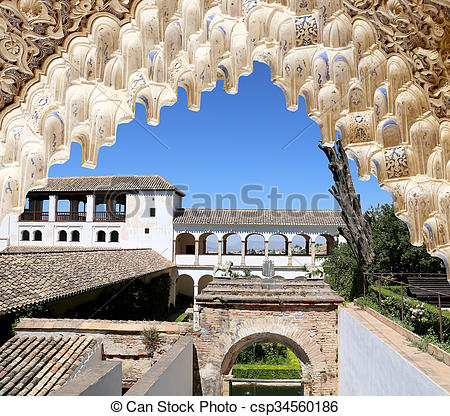 Pictures of Arches in Islamic (Moorish) style and Alhambra.