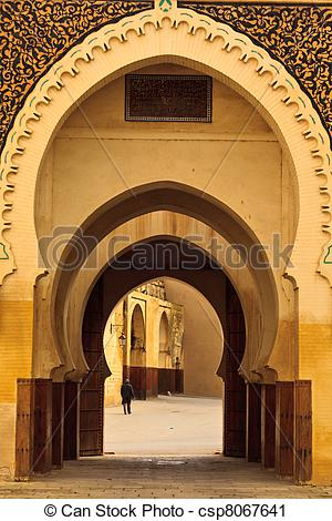 Stock Photography of Series of Moorish style curving arches of.