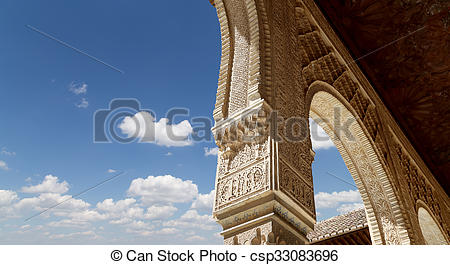 Stock Photographs of Arches in Islamic (Moorish) style in Alhambra.