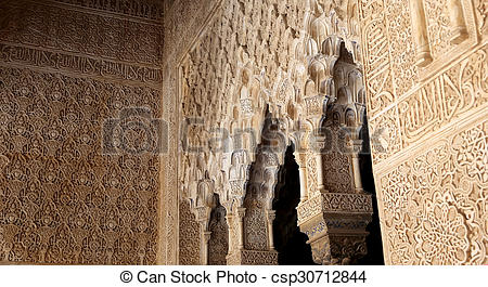 Stock Photo of Arches in Islamic (Moorish) style in Alhambra.