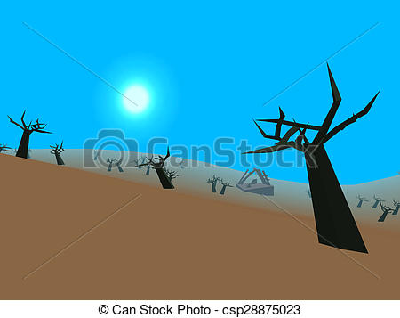 Clip Art of Low poly retro style moorland csp28875023.