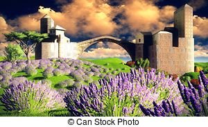 Clipart of Castle of the Moors on the lavender field csp35479814.