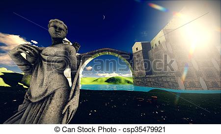 Clip Art of Castle of the Moors on the lavender field csp35479921.