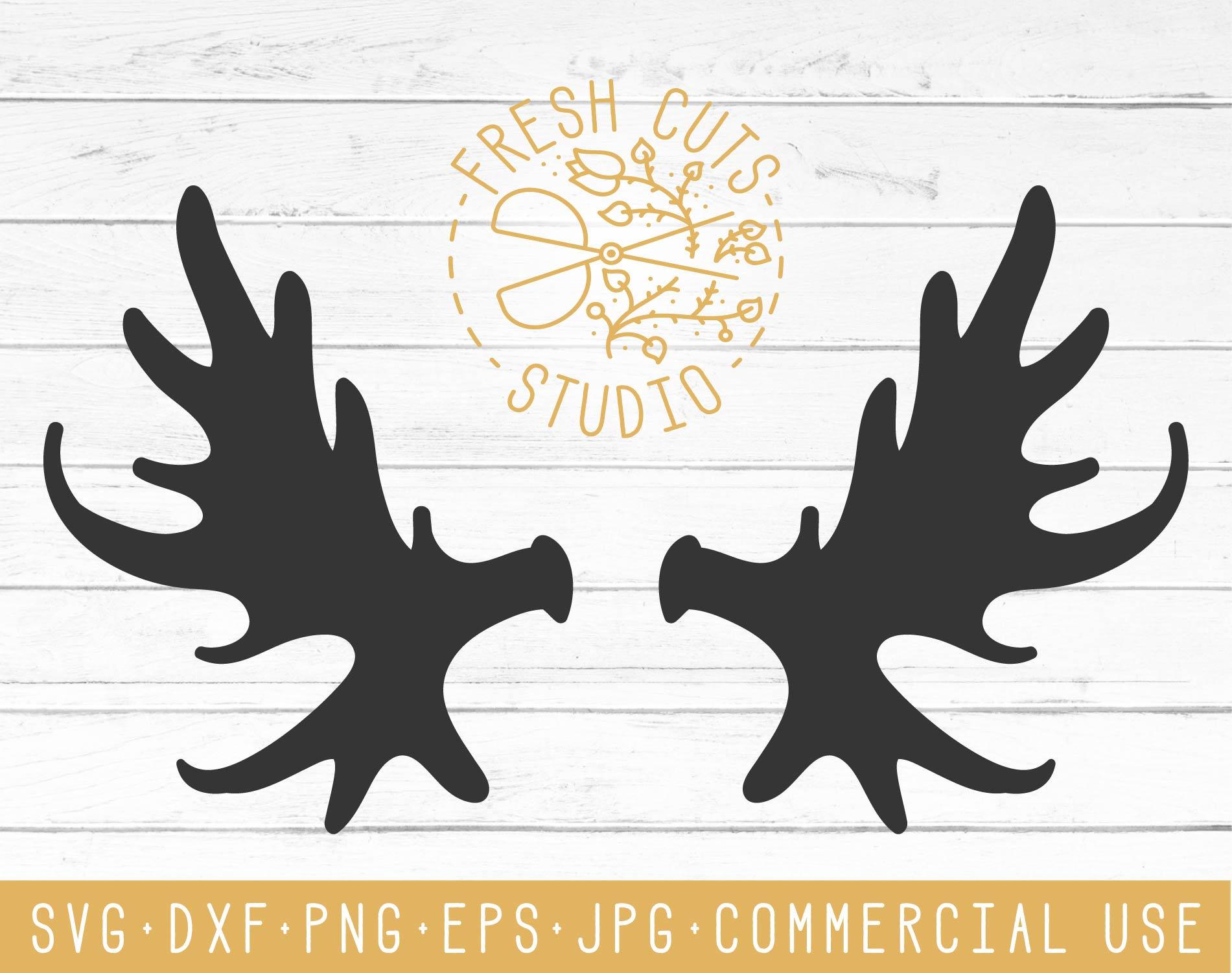 Moose Antler Svg Cut Files, Moose Antler Clipart Design, Antler Silhouette  Cricut Cameo Dxf Antler Art, Deer Hunting SVG, Commercial Use.