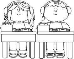 school room clipart black and ehite #13
