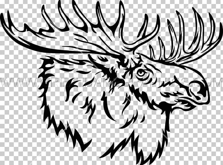 Moose Line Art Drawing Black And White PNG, Clipart, Antler.