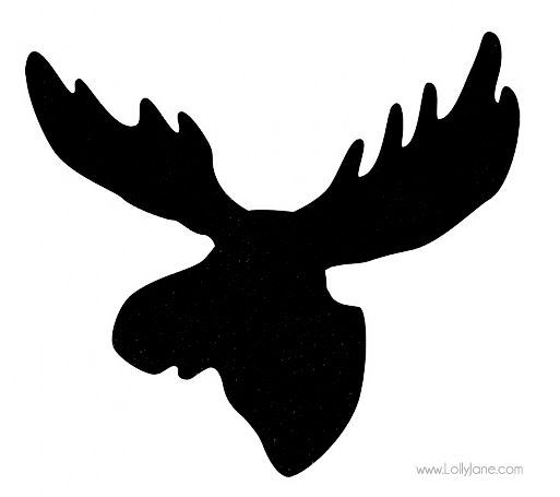 Cartoon Moose Head Silhouette.