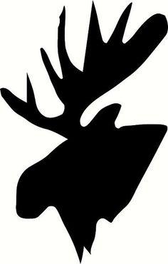 Moose Head Silhouette Stencil.
