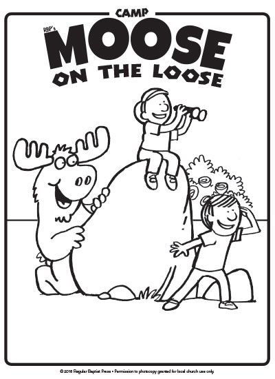Download free coloring pages for Camp Moose on the Loose VBS.