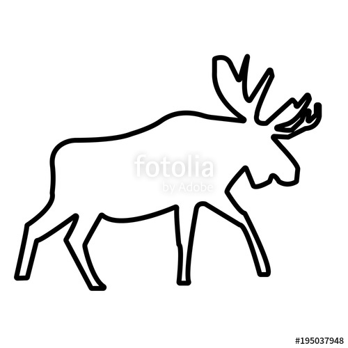 moose silhouette clip art outline on white background