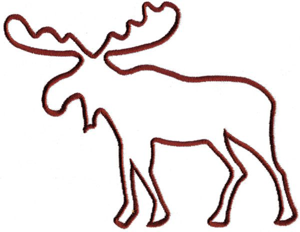 Moose Outline Embroidery Design.