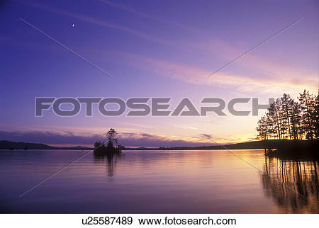 Stock Photograph of Moosehead Lake, Lake Region, Maine, (Sunset.