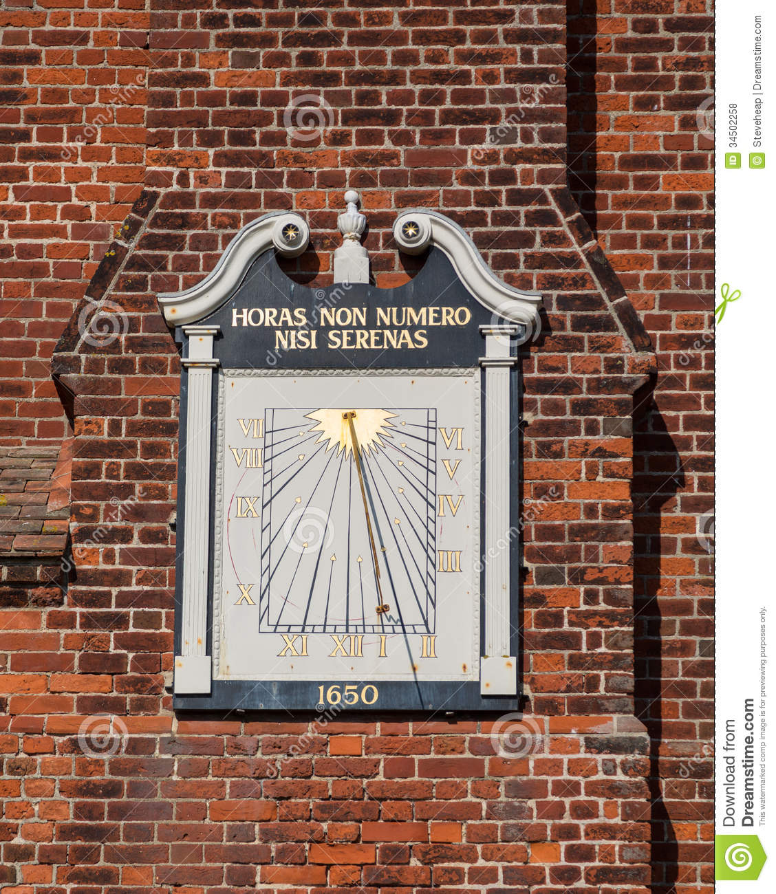 Ancient Sundial On Moot Hall In Aldeburgh Royalty Free Stock.
