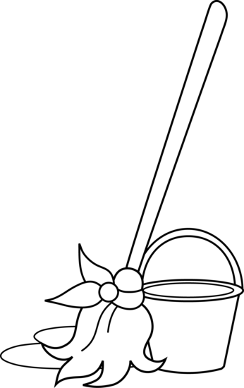 Mop and Bucket Coloring Page.
