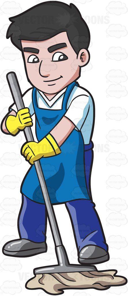 A man with dark hair mopping the floor #cartoon #clipart.
