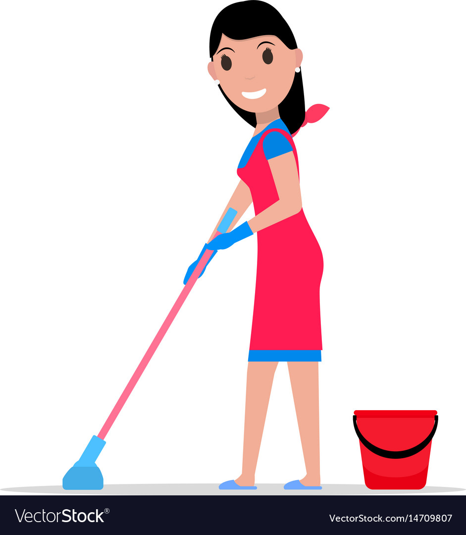 Cartoon girl mop and bucket washes floors.