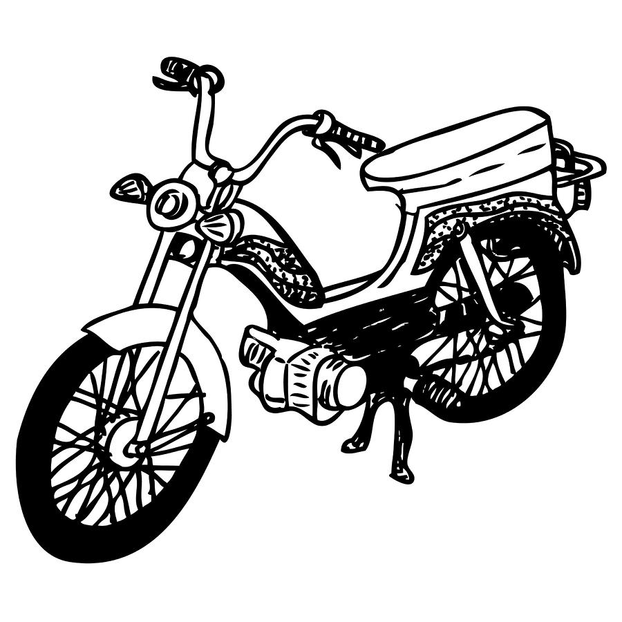 Motorcycle Line Drawing.