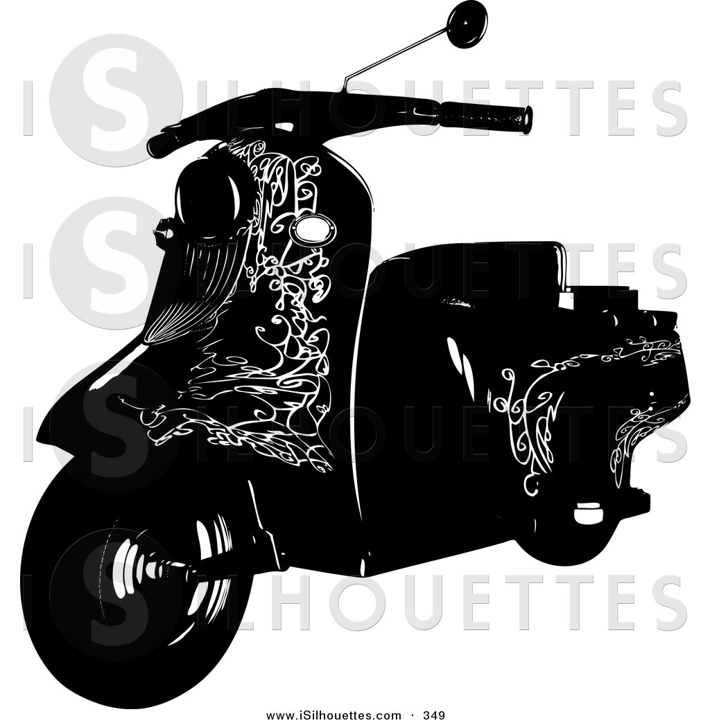 Royalty Free Stock Silhouette Designs of Mopeds.