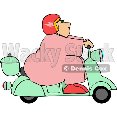 Fat Woman Driving a Scooter Moped Clipart © Dennis Cox #4431.
