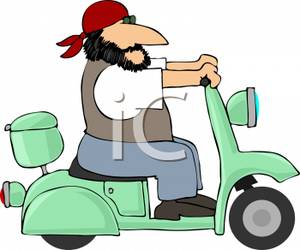 Driving a Moped.