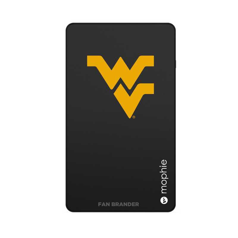 Mophie Black USB portable charger with West Virginia Mountaineers logo.