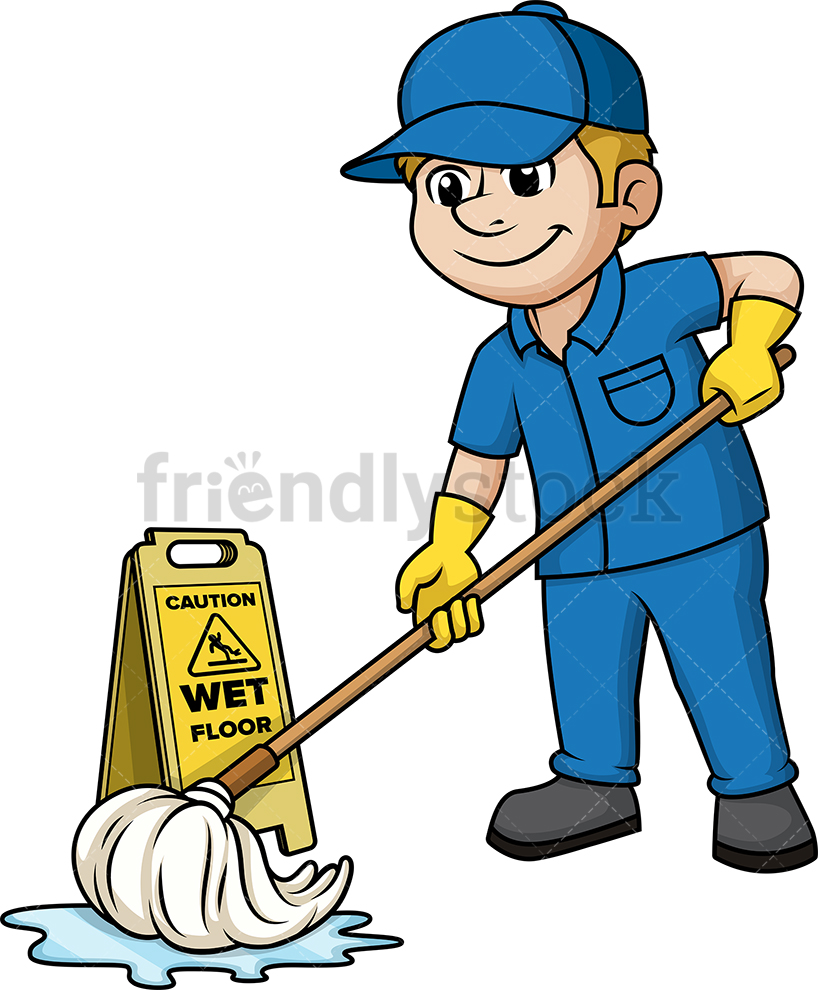 Man Mopping The Floor.