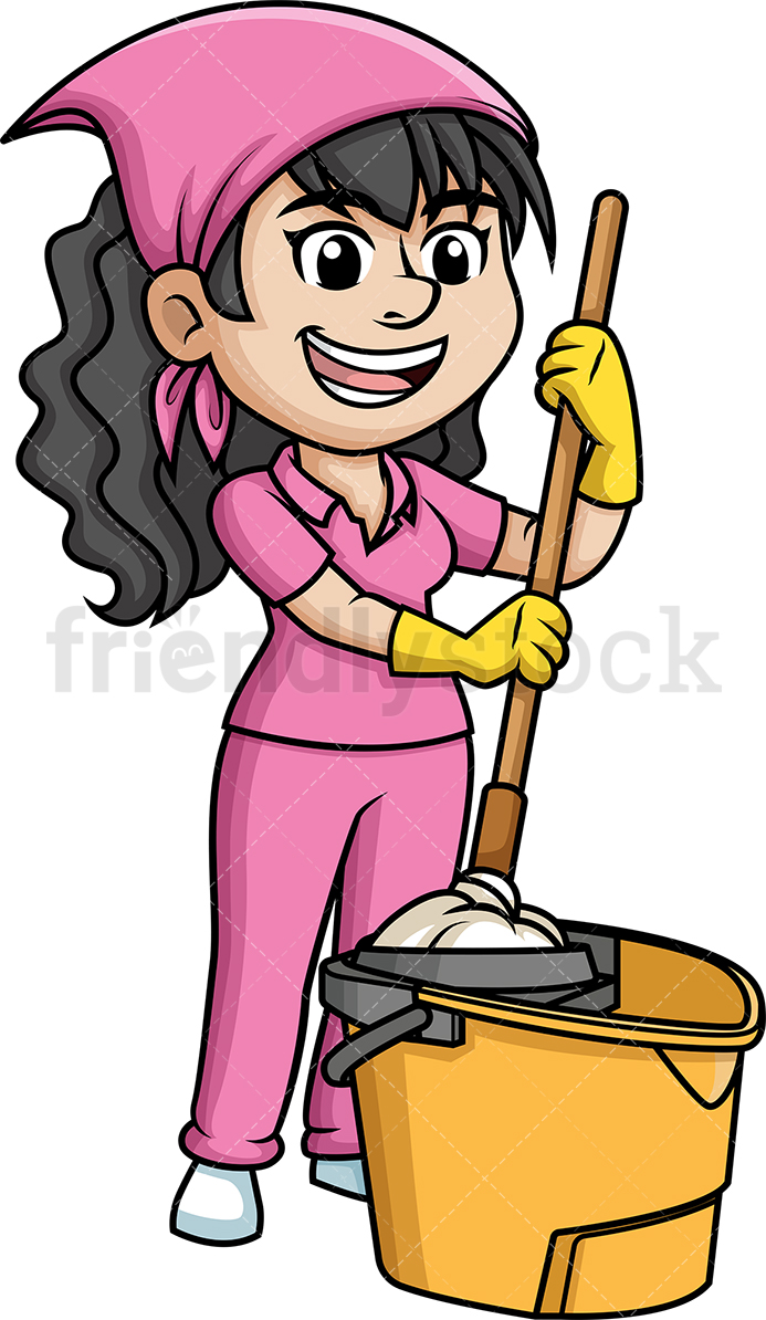 Woman Squeezing A Mop.