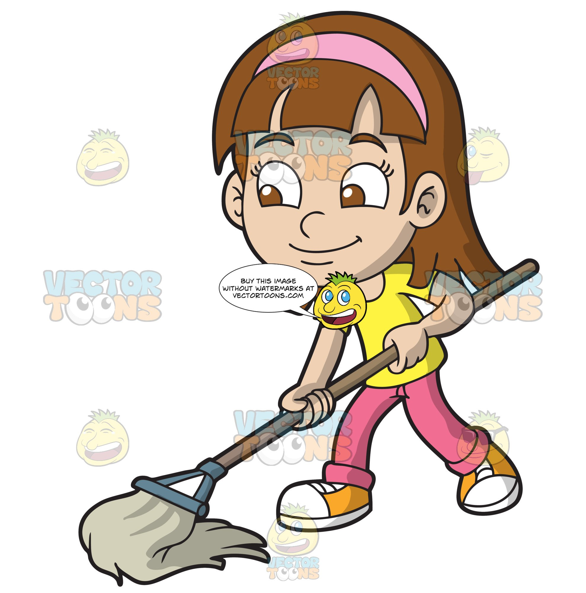 A Girl Mopping The Floor.