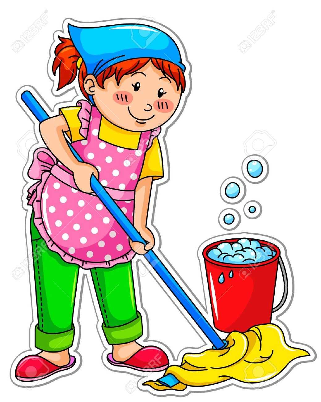 Mopping the floor clipart.