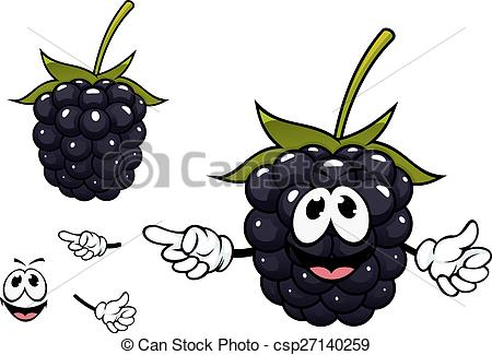 Clipart vectorial de divertido, fruta, carácter, mora, maduro.