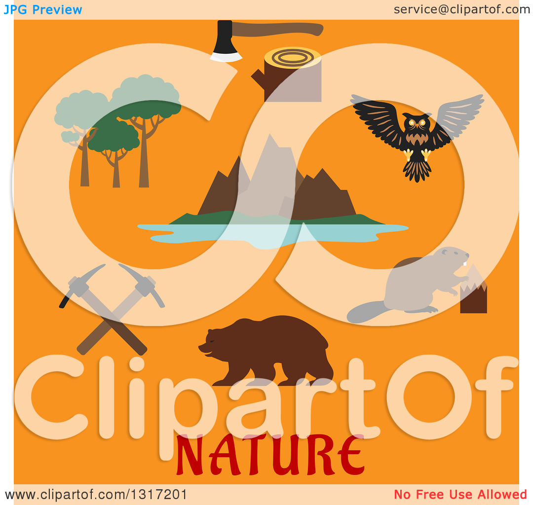 Clipart of a Flat Design Canadian Nature and Travel Symbols Rocky.