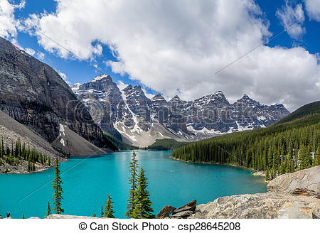 Stock Photography of Moraine lake in the Valley of Ten Peaks.