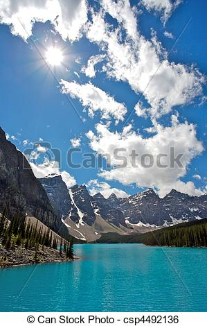 Stock Image of Moraine Lake in Banff National Park.