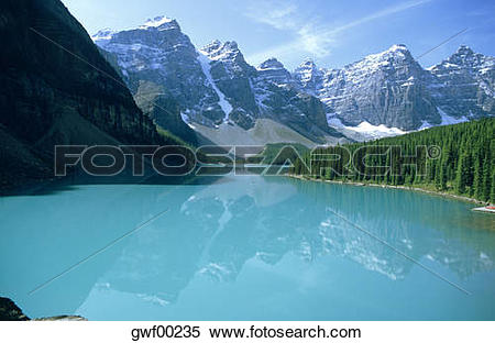 Stock Image of Canada, Alberta, Banff National Park, Moraine Lake.
