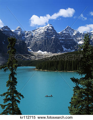 Stock Image of Banff Np, Alberta, Canada Canoeing On Moraine Lake.